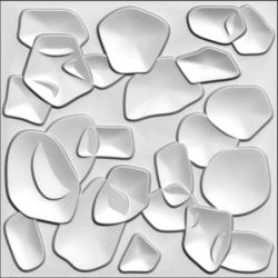 Stone, paneel bestaande uit natuurlijke plantvezels, geperst tot een 3D paneel, afmeting 1000x1000 mm,